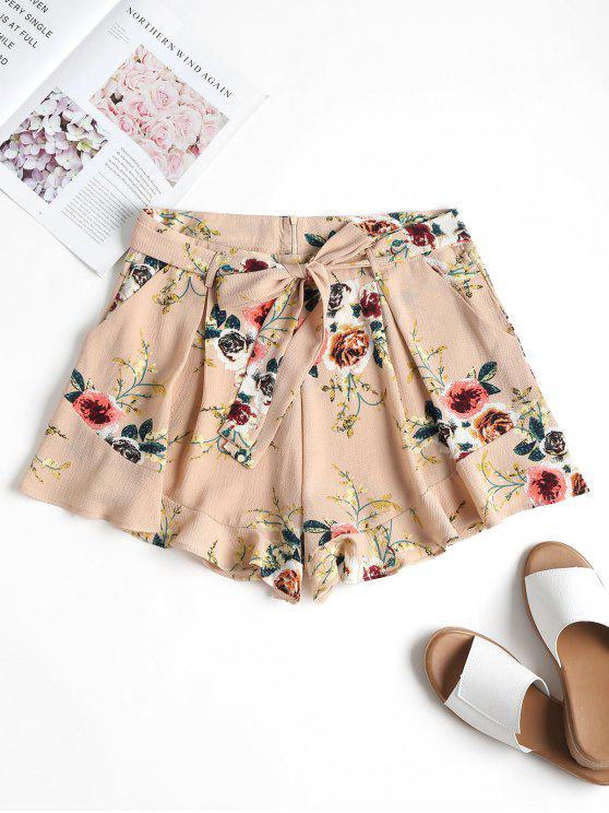 lady Pockets Belted High Waisted Shorts - DESERT SAND M