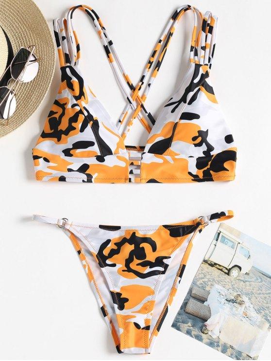 ladies Camo Strappy String Bikini - ORANGE L