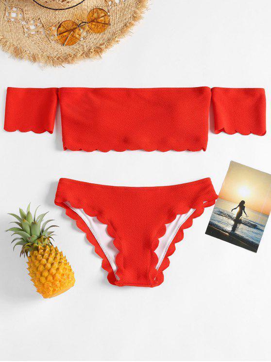 fancy Scalloped Off Shoulder Bikini Set - GRAPEFRUIT M