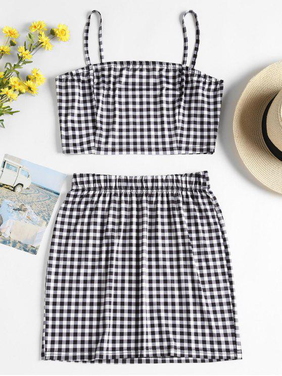 fashion Checked Jersey Top and Skirt Two Piece Set - MULTI L