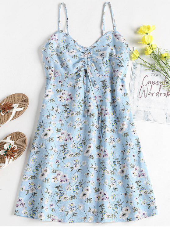 Blumen Druck Mini Empire Taille Sommerkleid - Helles Himmelblau L