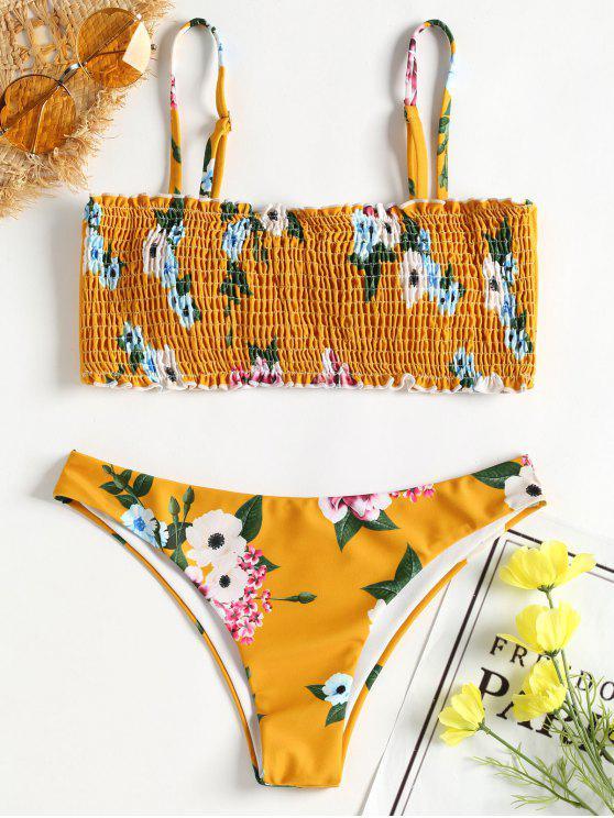 Bikini Froncé en Camisole et Floral - Jaune d'Abeille M