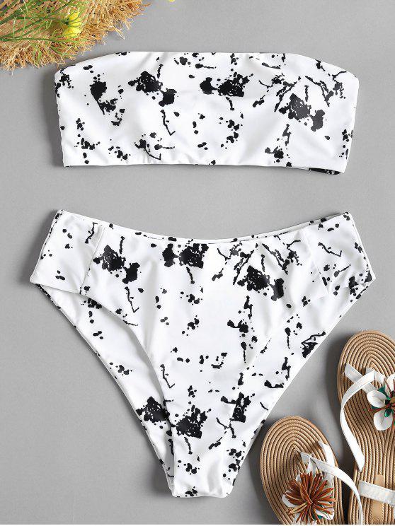 Gepolsterter Bandeau Hoch Taillierter Bikini-Set - Weiß S
