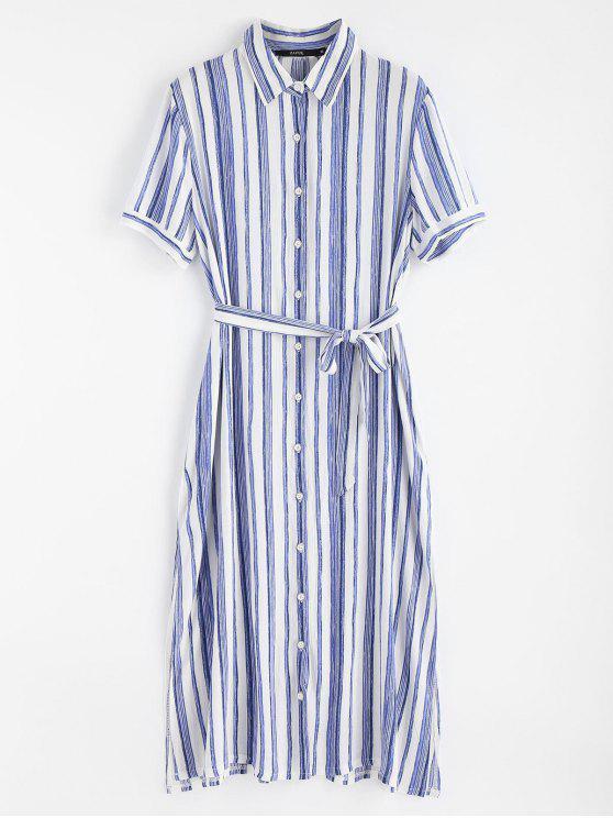women's High Slit Striped Shirt Dress - BLUE M
