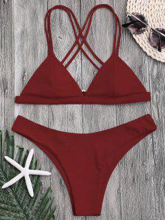 Bikini Thong à Dos Croisé à Coupe Haute - Rouge Foncé M