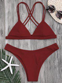 High Cut Cross Back Thong Bikini - Deep Red S
