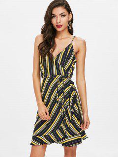 Striped Ruffle Surplice Dress - Deep Blue S