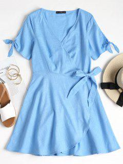 Knotted Plunge Wrap Dress - Light Sky Blue L