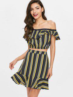 Striped Crop Top With Mermaid Skirt Set - Deep Blue M