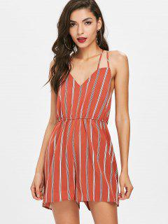 Criss Cross Striped Romper - Chestnut Red S