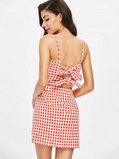 Gingham Knot Cami Dress - Chestnut Red S