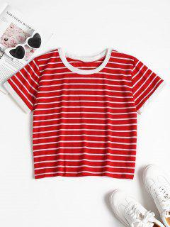 Striped Cropped T-Shirt - Fire Engine Red L