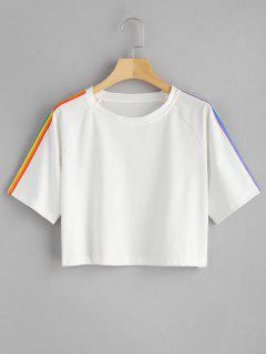 Rainbow Stripe Oversized Crop Top - White L