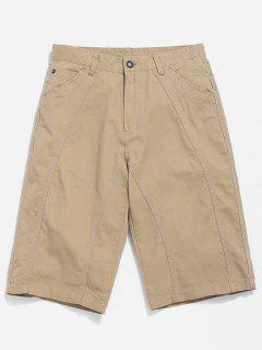 Pocket Zip Fly Casual Shorts - Light Khaki 32