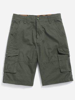 Zipper Fly Cargo Shorts - Army Green 38