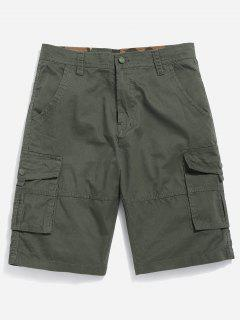 Zipper Fly Cargo Shorts - Army Green 32