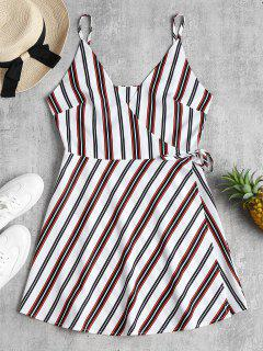 Wrap Striped Slip Dress - White M