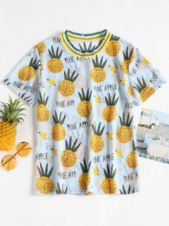 Semi Sheer Pineapple Print Tee - Light Blue