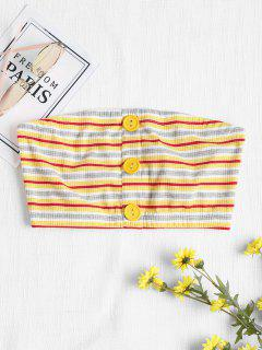 Buttoned Striped Bandeau Top - Yellow S