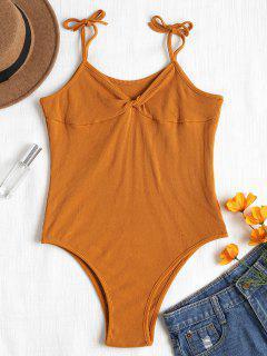 Ribbed Twist Bodysuit - Light Brown L