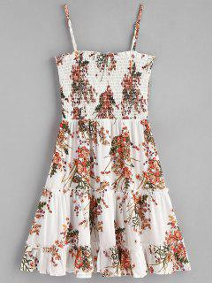 Smocked Floral Slip Dress - White L