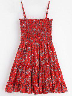 Smocked Floral Mini Dress - Cherry Red S