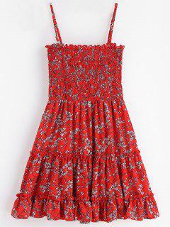 Mini-Robe Smockée à Fleur - Rouge Cerise L