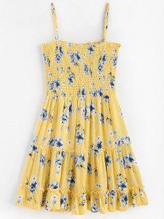 Smocked Frilled Slip Dress - Corn Yellow M