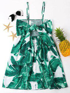 Leaves Print Front Knot Mini Dress - Green S