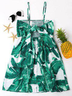 Leaves Print Front Knot Mini Dress - Green L