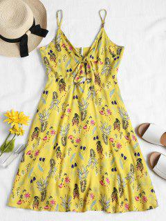 Floral Tie Front Slip Dress - Yellow L