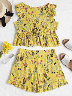 Tie Front Ruffles Top And Shorts Set - Yellow L