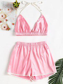 Satin Halter Shorts Set - Light Pink L