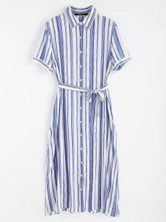 High Slit Striped Shirt Dress - Blue L