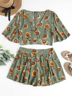 Floral Crop Top Shorts Two Piece Set - Sage Green M