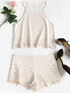 Faux Suede Laser Cut Scalloped Matching Set - Warm White S