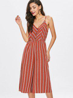 Striped Buttoned Slip Jumpsuit - Chestnut Red L