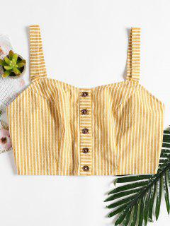 Striped Button Up Tank Top - Corn Yellow S