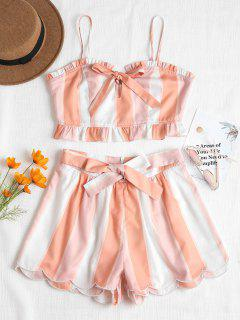 Tie Front Top And Scalloped Shorts Set - Light Pink L
