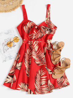 Vestido Estampado Atado Con Estampado De Hojas - Amo Rojo L