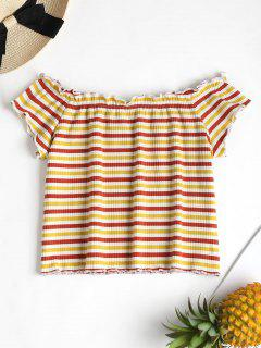 Striped Ribbed Off The Shoulder Top - Multi S