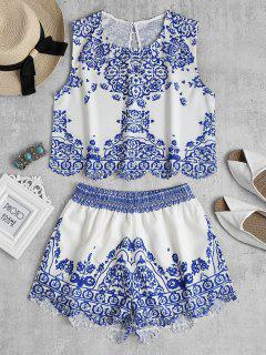 Scalloped Tank Top And Shorts Two Piece Set - Multi L