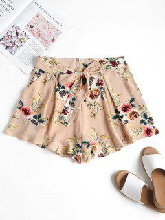 Pockets Belted High Waisted Shorts - Desert Sand L