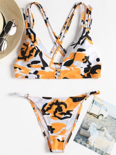 Camo Strappy String Bikini - Orange S