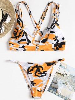 Camo Strappy String Bikini - Orange L