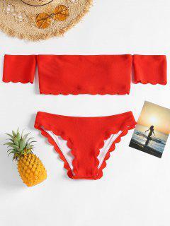 Muschel Schulterfreier Bikini Set - Pampelmusse S