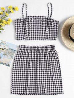 Checked Jersey Top And Skirt Two Piece Set - Multi L