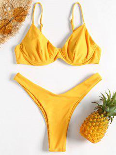 Set De Bikini De Pierna Alta Con Aro - Caucho Ducky Amarillo L