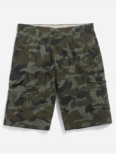 shop Camouflage Cargo Shorts - CAMOUFLAGE GREEN 38 Mobile