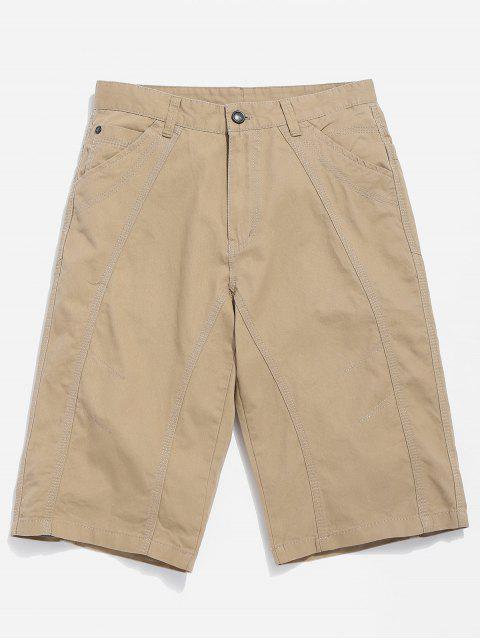 Pantalones cortos con cremallera y volados de bolsillo - Caqui Claro 34 Mobile